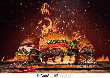 hamburger, francais, fire., savoureux, frire