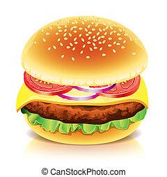 hamburger, freigestellt, weiß, vektor, abbildung