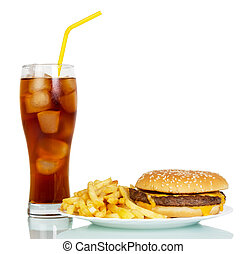 Hamburger, French fries and glass of cola isolated on white.