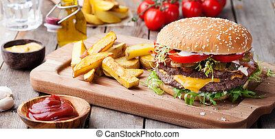 hamburger, frigge, hamburger, taglio, francese, board.