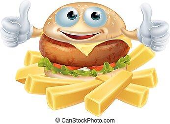 hamburger, frire, dessin animé