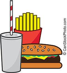 hamburger, frire, secousse