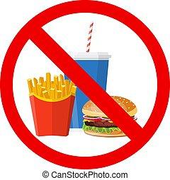hamburger, frita, francês, não