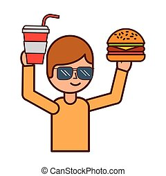 hamburger, garçon, tenue, soude