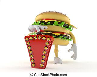hamburger, gombolódik tol, betű, vetélkedő