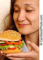 hamburger, grand, temps, mains, girl, repas