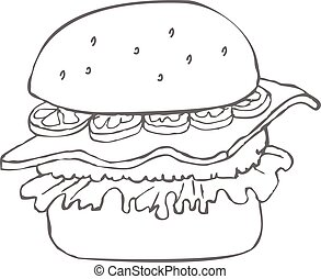 Hamburger hand drawn sketch
