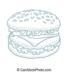 hamburger., heerlijk, eetlustopwekkend