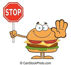 hamburger, holde inde, holde, tegn