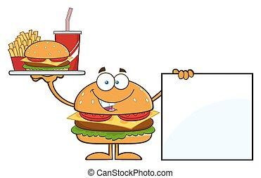 Hamburger Holding A Platter