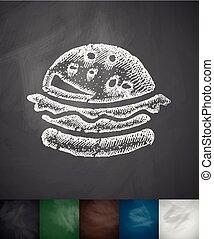 hamburger icon. Hand drawn vector illustration. Chalkboard...