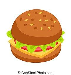 Hamburger icon. Isometric style vector illustration.