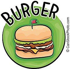 hamburger, illustrazione, icona