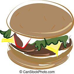 hamburger, ilustração, doce, experiência., vetorial, branca