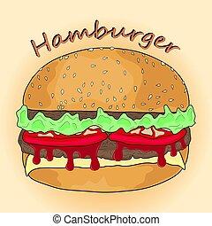 hamburger in cartoon style. vector illustration.
