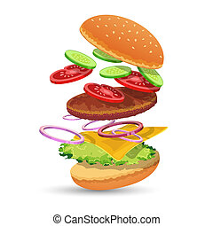 Hamburger ingredients food set of bread cucumber tomato meat onion cheese lettuce emblem vector illustration