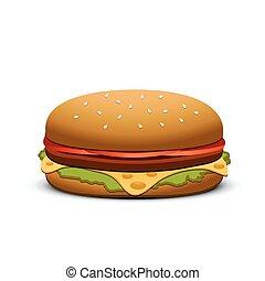 hamburger, isolado, branco, experiência.