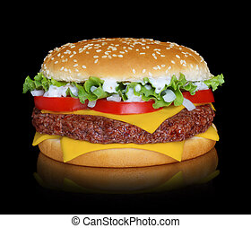 Hamburger isolated on black background