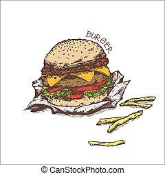 hamburger isolated on white background