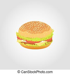 Hamburger isolated on white background. Vector illustration.