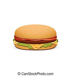 Hamburger isolated on white background. Vector illustration