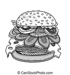 Hamburger isolated on white - Monochrome Hamburger. Art...