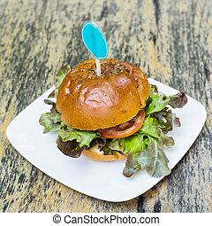 hamburger, jadło, do góry, drewno, zamknięcie, stół