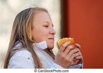 hamburger, jugendlich, essende, m�dchen