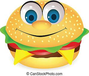hamburger, karakter, spotprent