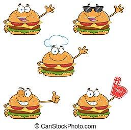 hamburger, karakter, verzameling, -, 1