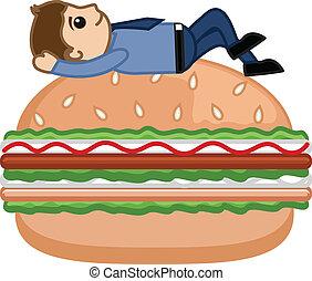 hamburger, -, karikatur, kaufleuten zürich