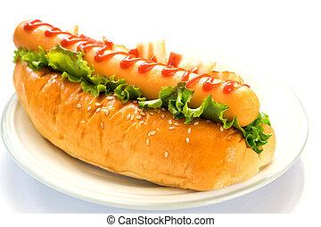 hamburger, kiełbasa, (hotdog, ham)