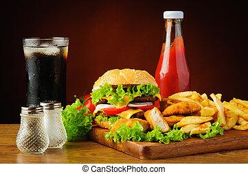 hamburger, kylling guldklumper, fransk steger, coladrik, og, ketchup