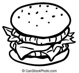 Hamburger Line Drawing
