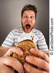 hamburger, manger, gros homme