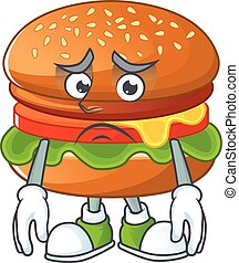 Hamburger mascot design style with worried face