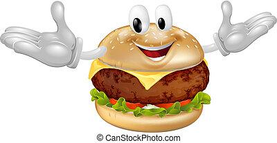 hamburger, mascotte, uomo