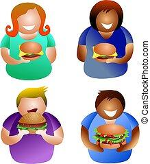 hamburger, mensen