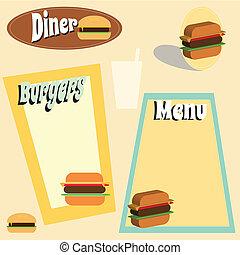 hamburger, menu, graphiques