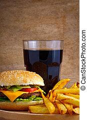 Hamburger menu with fries and cola