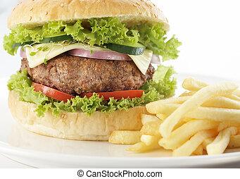 hamburger, met, kaas