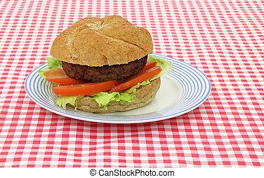 hamburger, met, sla, tomaat