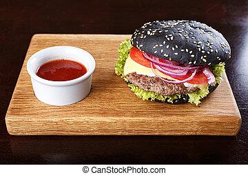 hamburger, noir, planche