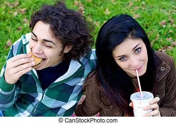 hamburger, nourriture, couple, parc, jeûne, soude, manger, heureux