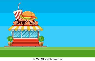 hamburger, nourriture, jeûne, aviateur, conception, café, bannière, ou