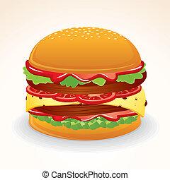 hamburger, nourriture, jeûne, icon., savourer, fromage