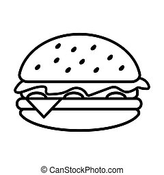 hamburger, nourriture, jeûne, vecteur, conception, illustration, icône