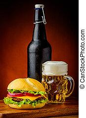 hamburger, og, øl