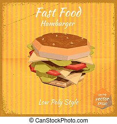 Hamburger on a retro background in low-polygonal style....
