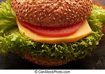 hamburger on a wooden table